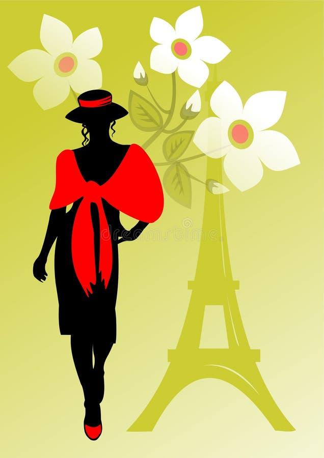 Menina francesa em um palatine ilustração do vetor