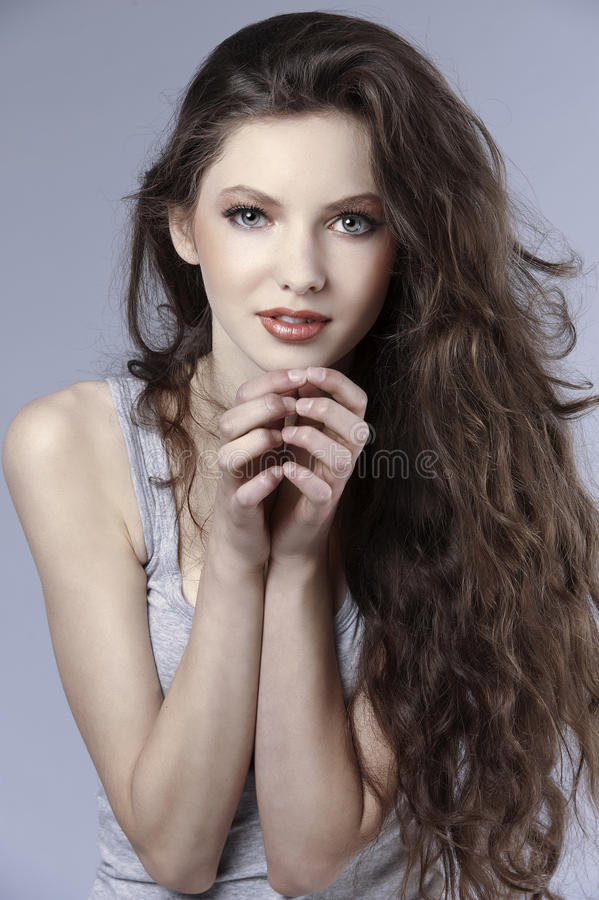 Menina fresca Curly imagens de stock royalty free
