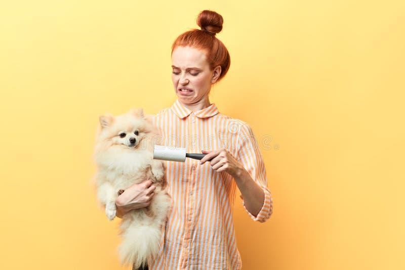 A menina frustrante irritada não é satisfeita com tomar dos animais de estimação fotos de stock royalty free