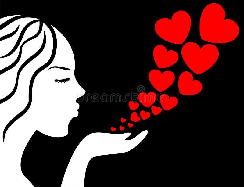 A menina funde os corações ilustração stock