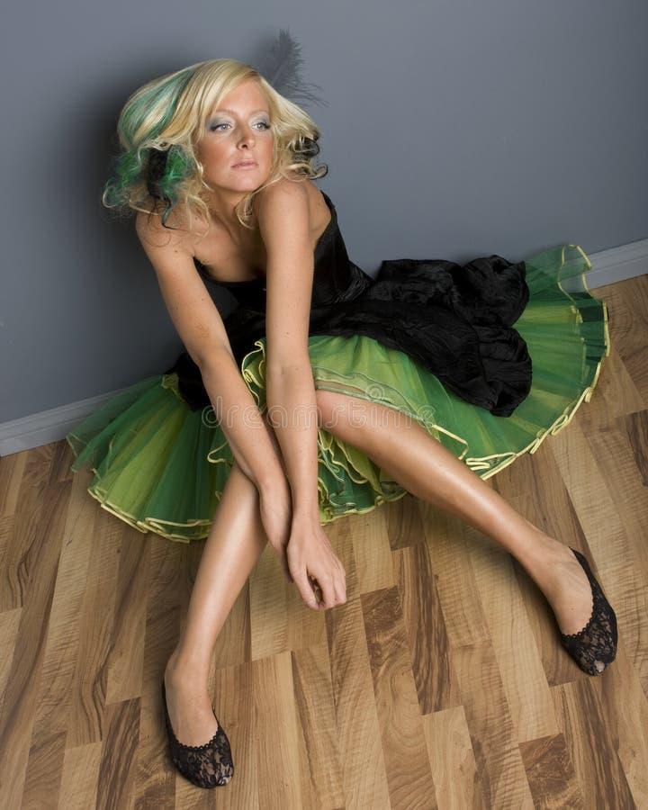 Menina Funky no vestido imagens de stock