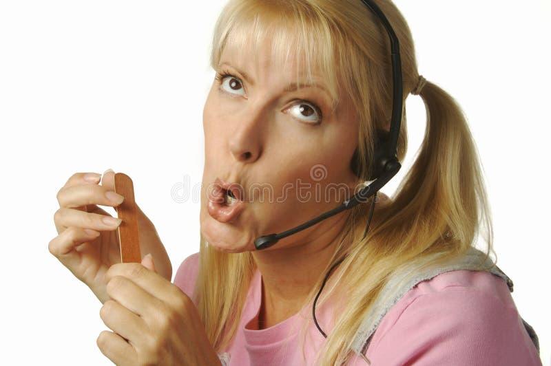 Menina furada do apoio a o cliente foto de stock