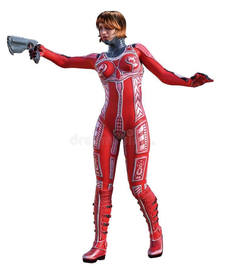 Menina futurista do guerreiro com terno vermelho, ilustra??o 3d ilustração do vetor