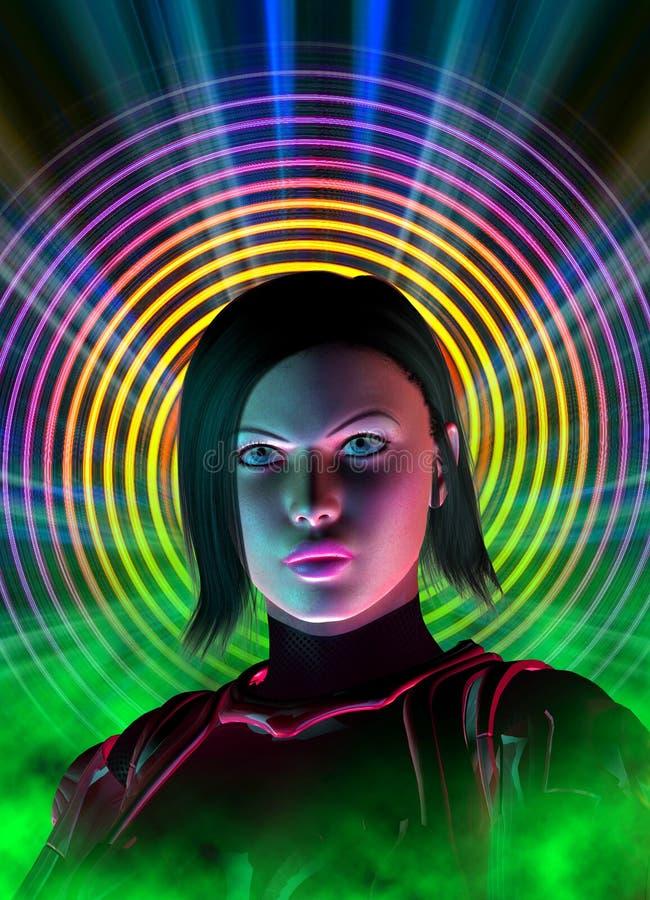 Menina futurista do guerreiro, ilustração 3d ilustração royalty free