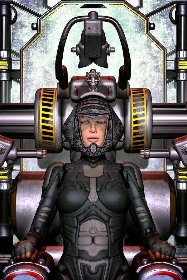 Menina futurista do piloto de espaço ilustração royalty free
