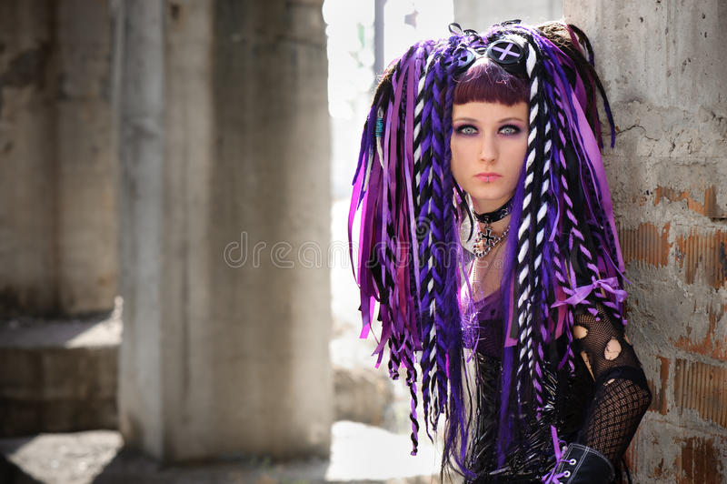 Menina gótico do Cyber imagens de stock