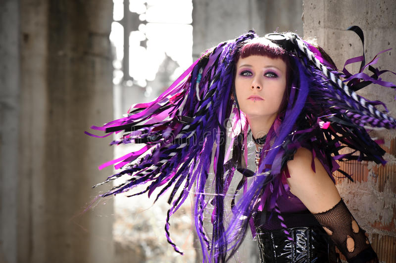 Menina gótico do Cyber fotos de stock royalty free