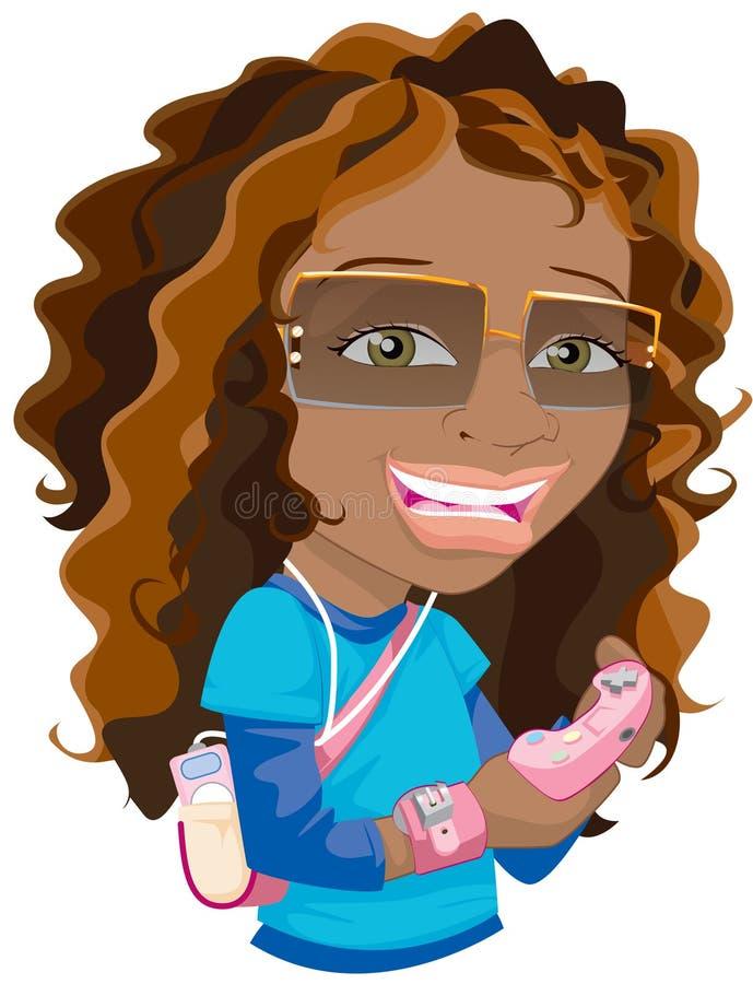 Menina Gamer ilustração royalty free