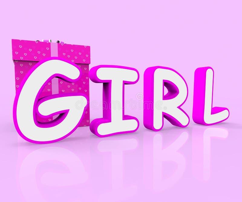 A menina Giftbox mostra a jovem mulher e comemora-a ilustração royalty free