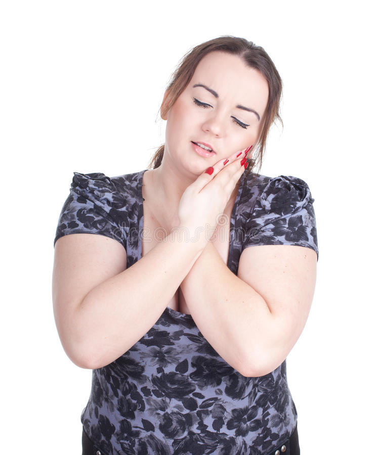 Menina gorda com dor, toothache fotografia de stock