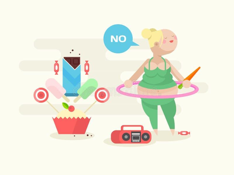 Menina gorda com uma aro ilustração do vetor