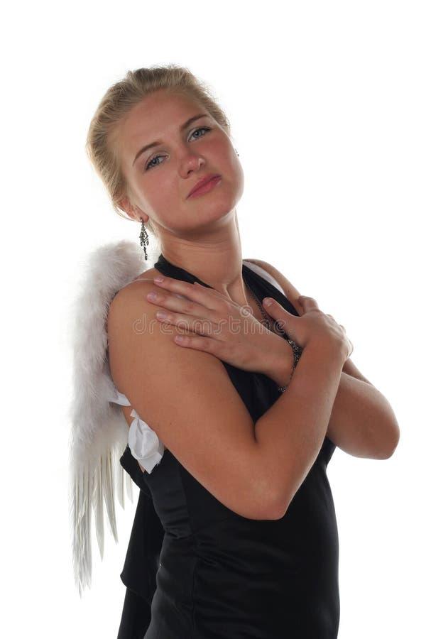 A menina gosta de um anjo imagens de stock