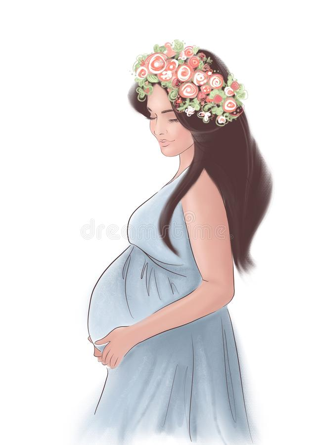 Menina grávida bonita com cabelo escuro longo e uma grinalda das flores em sua cabeça ilustração stock