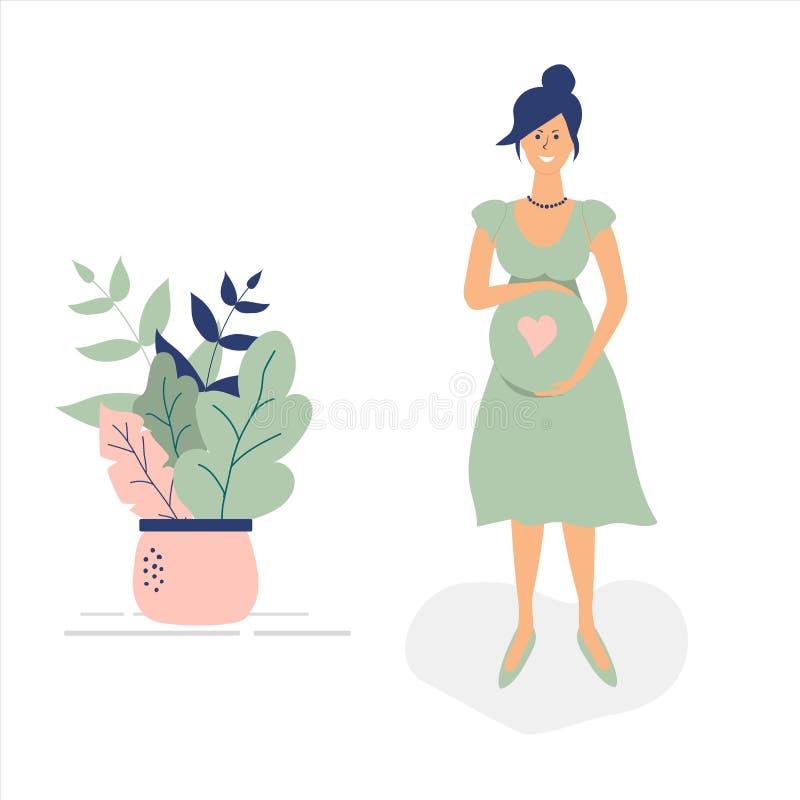 Menina grávida bonito em claro - vestido verde Figuras funky lisas estilo Folhas, às bolinhas e coração bonitos decorados Vetor ilustração do vetor