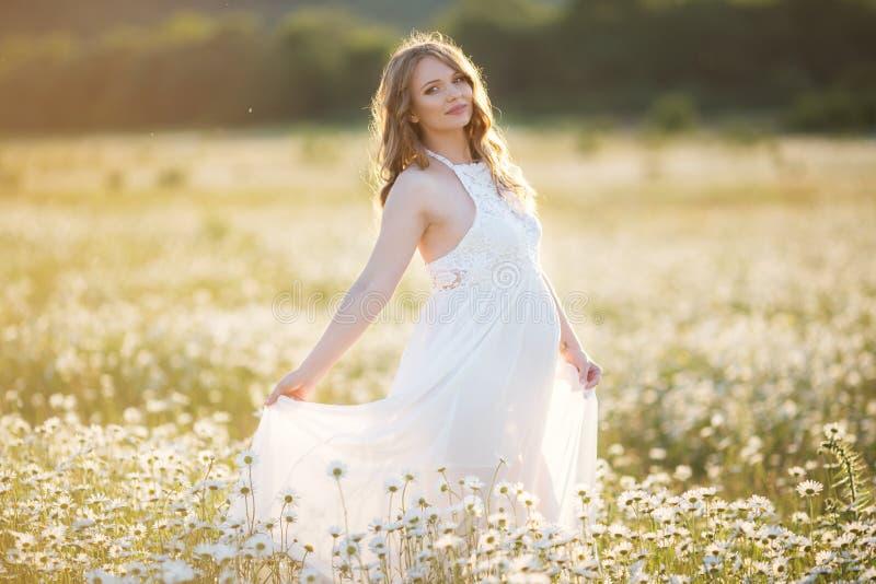 A menina grávida feliz bonita no campo da margarida floresce em luzes do por do sol fotos de stock