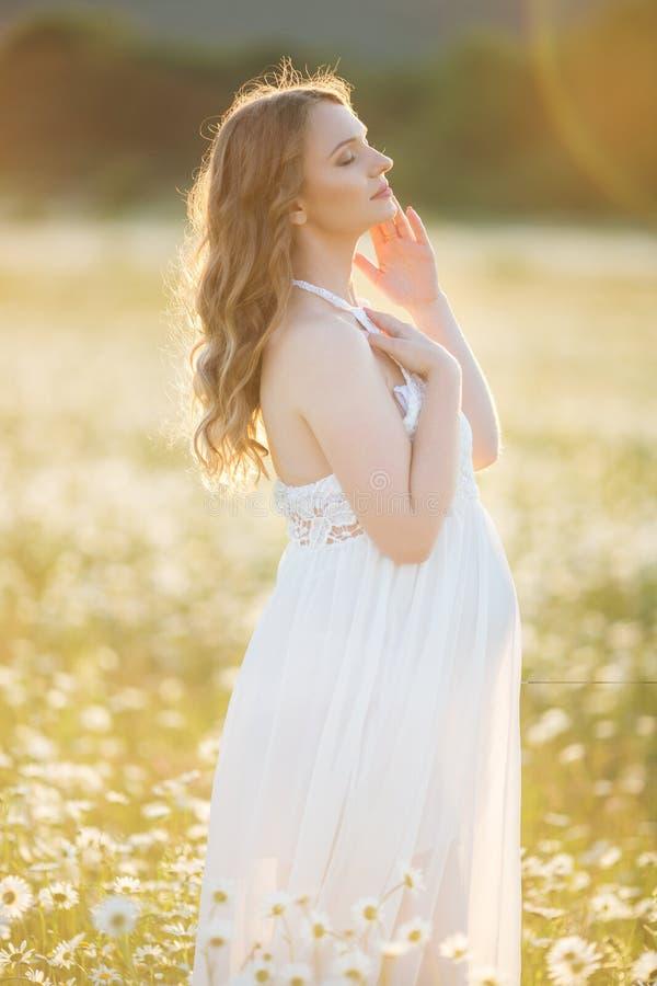 A menina grávida feliz bonita no campo da margarida floresce em luzes do por do sol imagens de stock royalty free