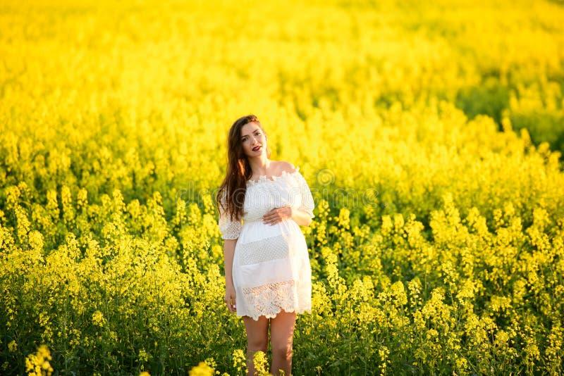 Menina grávida no campo da colza Jovem mulher bonito que espera um beb? foto de stock royalty free