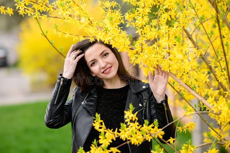 Menina grávida no jardim do outono Retrato bonito da barriga de uma mulher gravida em um vestido feito malha morno no outono colo foto de stock royalty free
