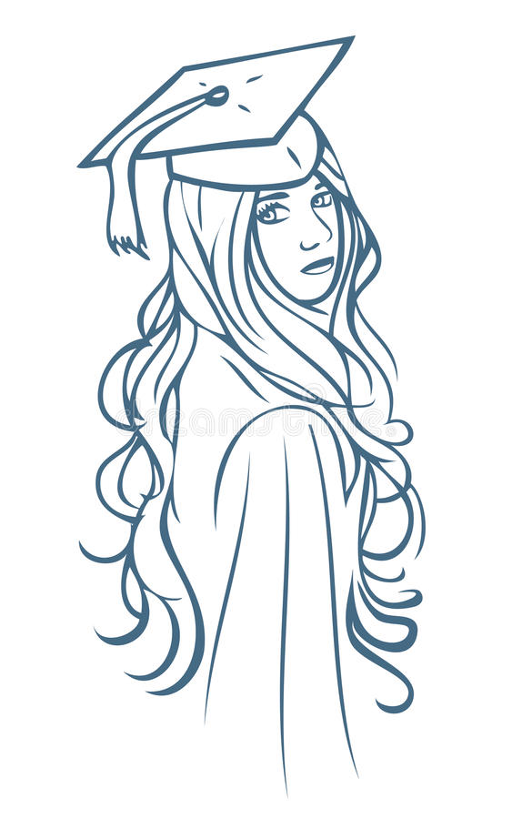 Menina graduada ilustração royalty free