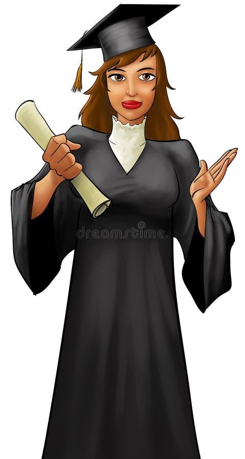 Menina graduada nova ilustração stock