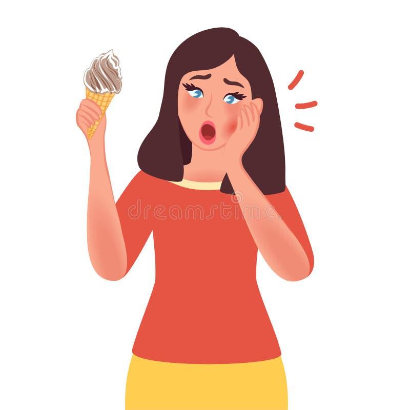 A menina grita devido a uma dor de dente Sensibilidade de dente ao frio r dentistry ilustração stock