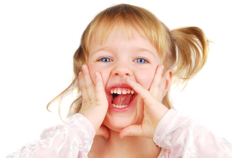 Menina gritando. fotografia de stock