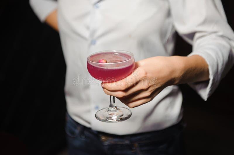 A menina guarda o cocktail alcoólico da cor cor-de-rosa com um rosebud foto de stock
