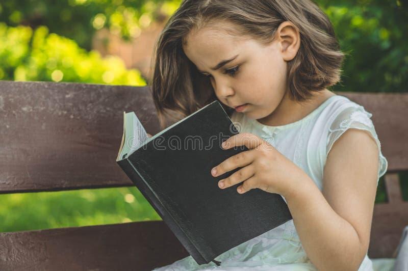A menina guarda o livro em suas mãos Lendo o livro dentro no ar livre A menina no assento em um banco foto de stock