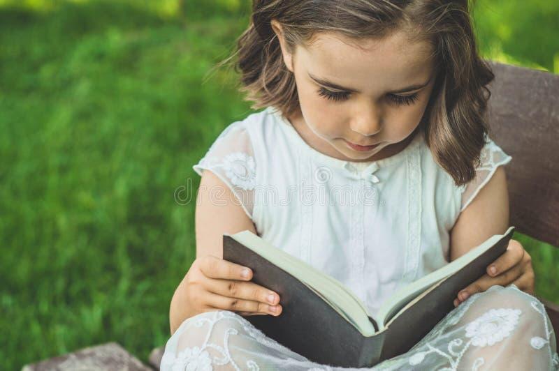 A menina guarda o livro em suas mãos Lendo o livro dentro no ar livre A menina no assento em um banco imagem de stock royalty free