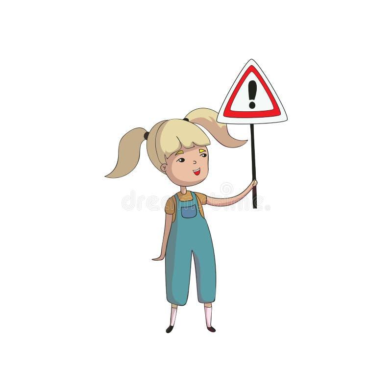 A menina guarda um sinal de estrada triangular com uma marca de exclamação Ilustra??o do vetor no fundo branco ilustração do vetor