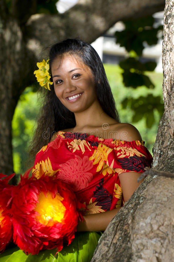 Menina havaiana nova fotografia de stock