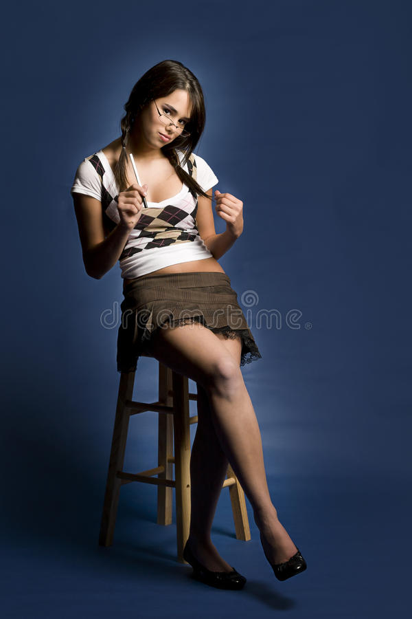 Menina impertinente da escola foto de stock