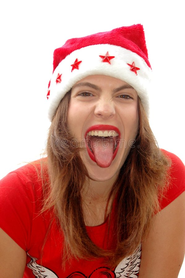 Menina impertinente de Santa imagens de stock royalty free