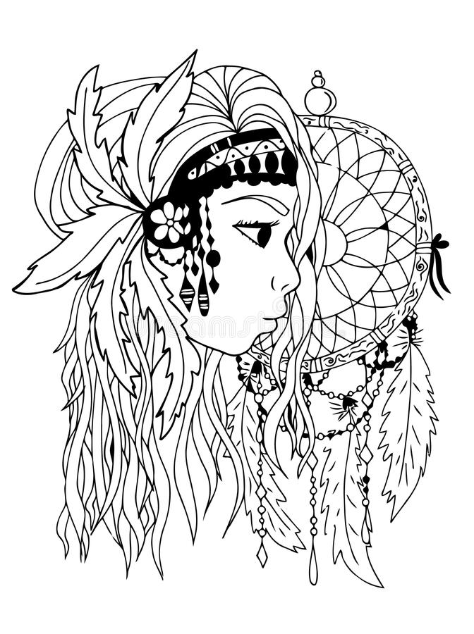 Menina indiana americana A mão afoga-se, preto e branco Imagem do vetor de Zentangle ilustração stock