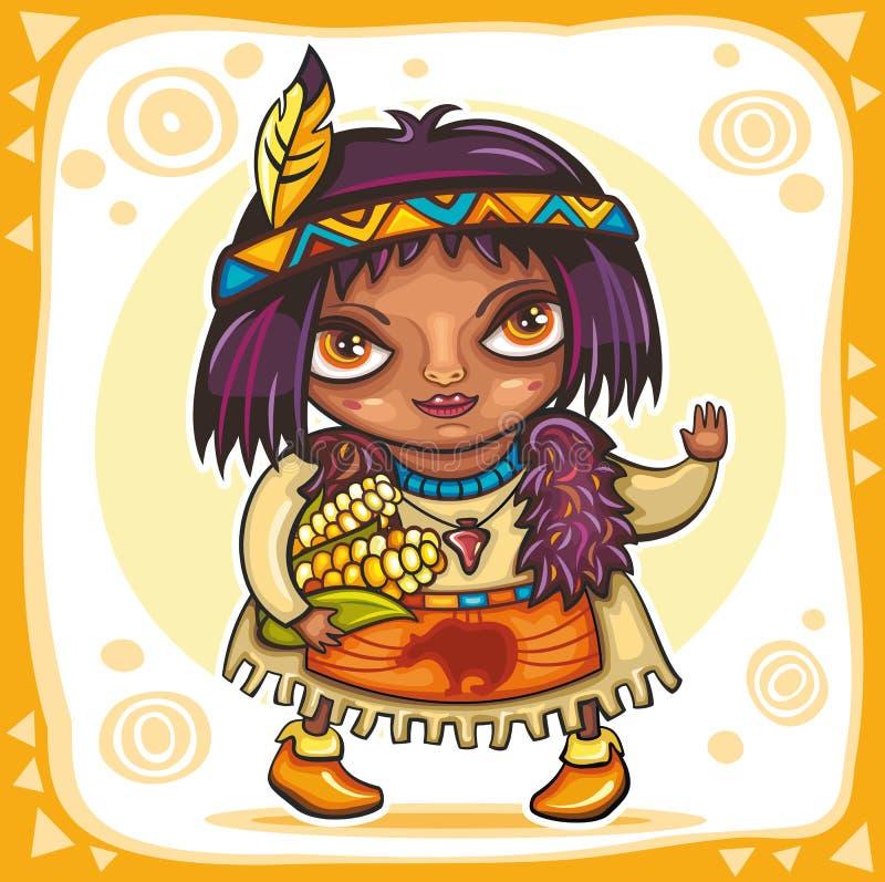 Menina indiana bonito ilustração do vetor