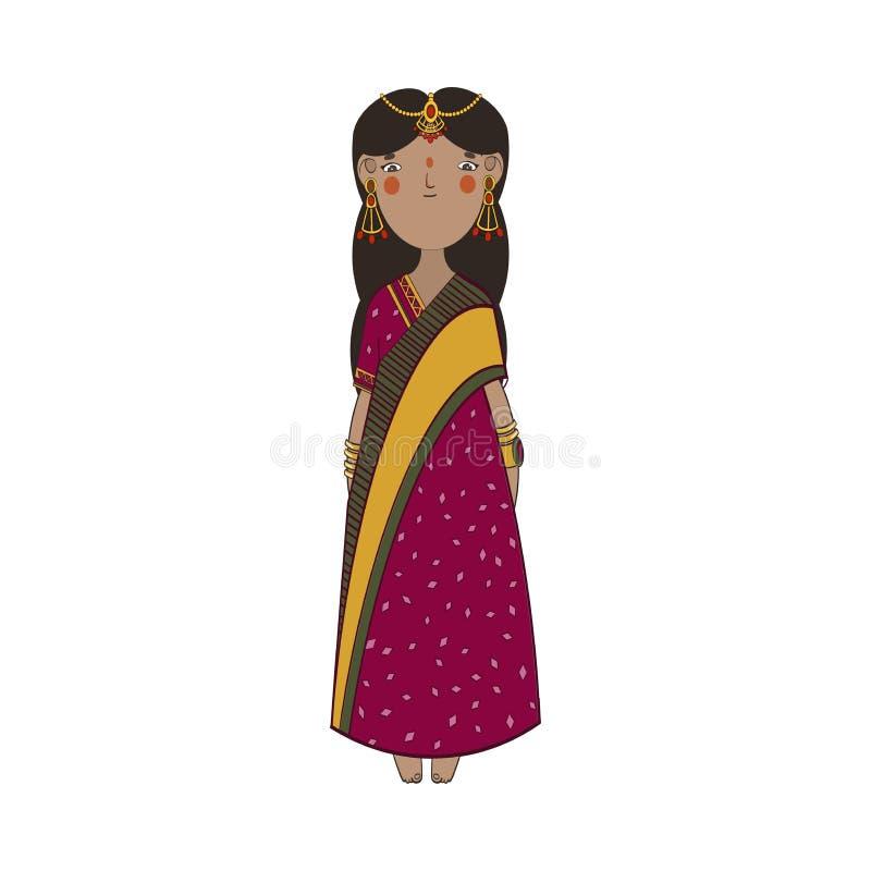 Menina indiana bonito com joia do ouro e o vestido nacional ilustração royalty free