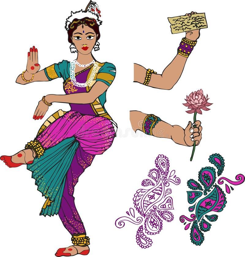 Menina indiana Dançarino mão com lótus Mehndi Puranas sanskrit sari ilustração royalty free
