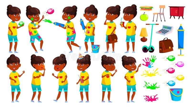A menina indiana levanta vetor ajustado Criança de escola primária teenage Festival de Holi da mola hindu Asiático Para a Web, fo ilustração stock