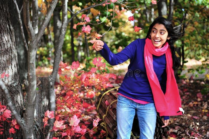 Menina indiana na estação de queda fotografia de stock