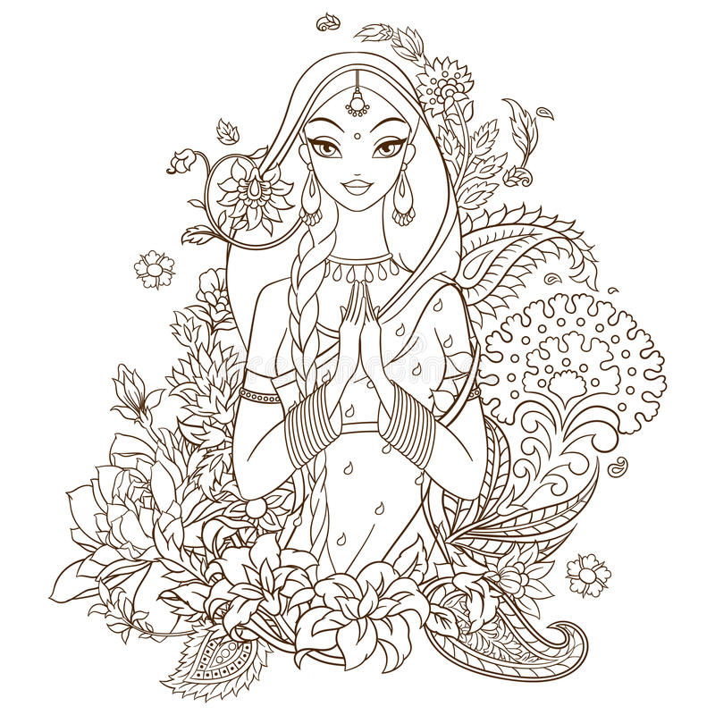 Menina indiana no sari cercado com flores e ornamento Vector a linha ilustração da arte isolada no fundo branco ilustração stock