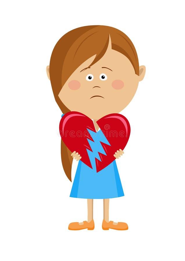 Menina infeliz que guarda um coração quebrado ilustração do vetor