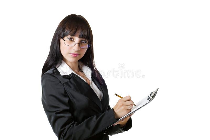 Menina inteligente com uma almofada imagem de stock