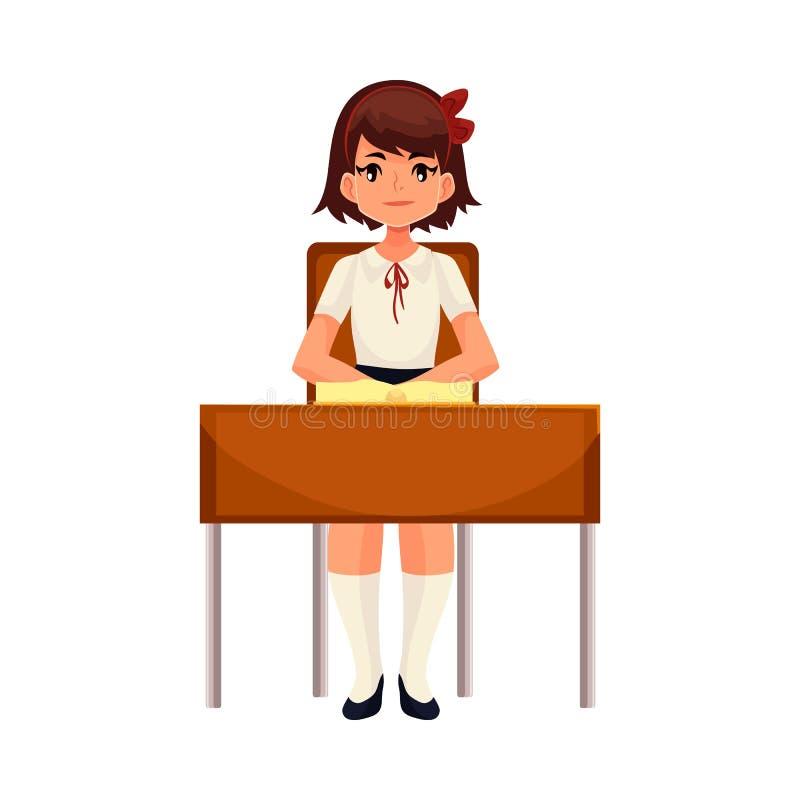 Menina inteligente da escola que senta-se na mesa com livro aberto ilustração royalty free