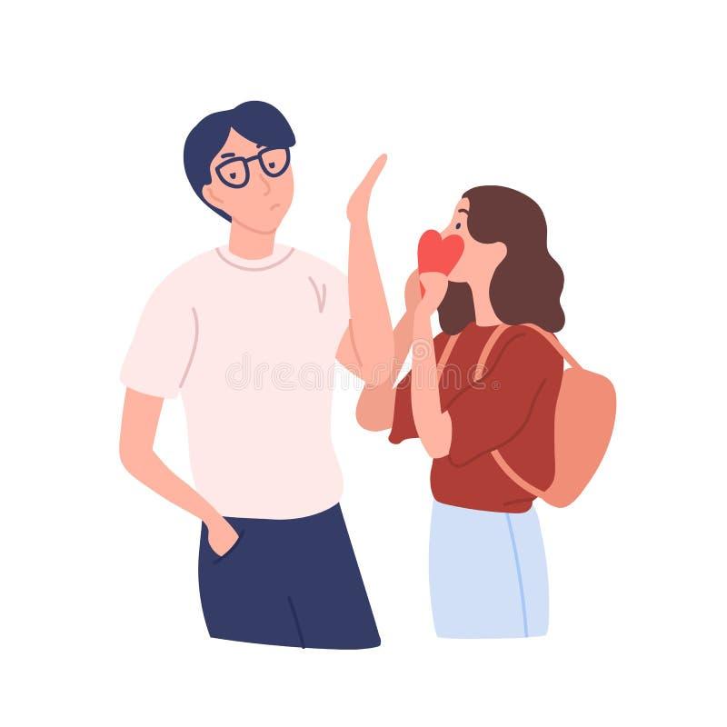 Menina intrusivo que tenta apresentar seu cora??o ao menino que rejeita seu presente Amor indesej?vel, unilateral ou n?o recompen ilustração stock
