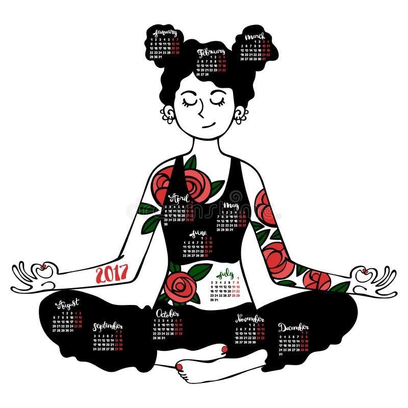 Menina - ioga Pose de Lotus Calendário - meses Objeto isolado no fundo branco imagem de stock royalty free