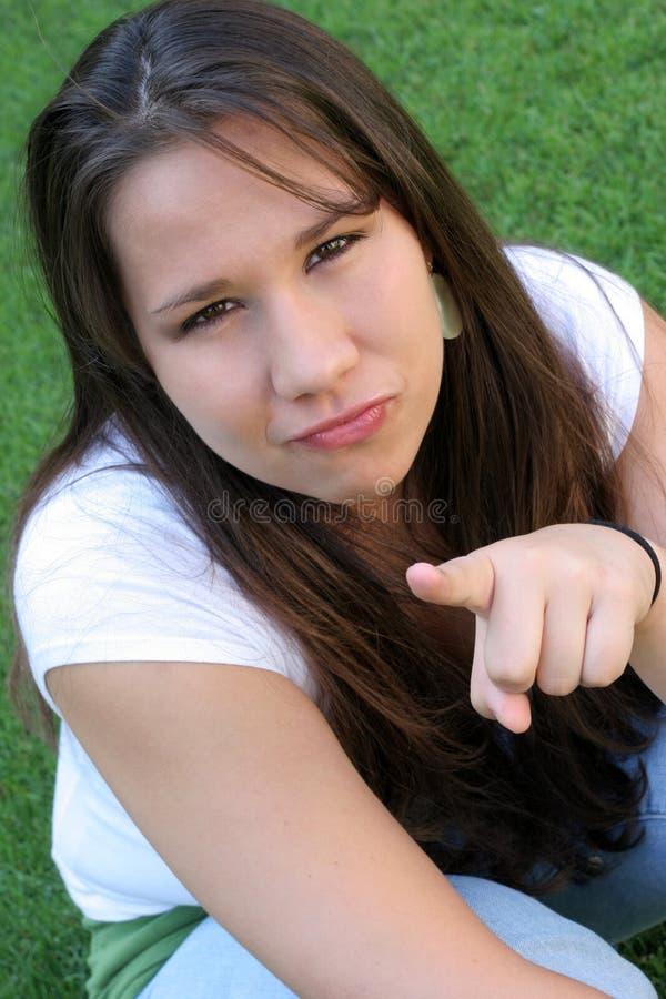 Menina irritada fotografia de stock