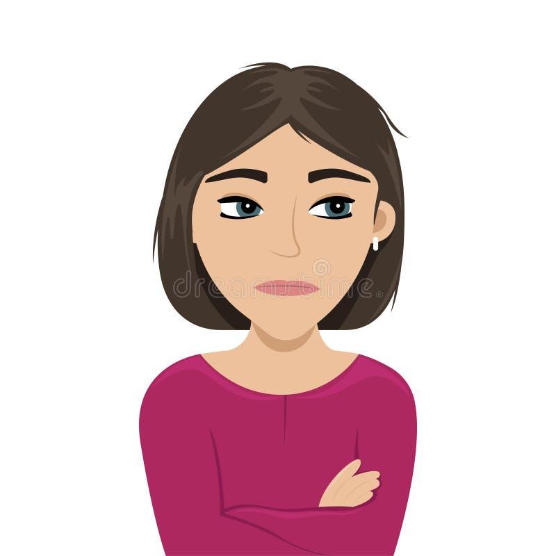 A menina irritada cruzou seus bra?os Ilustra??o lisa do vetor emo??es ilustração royalty free