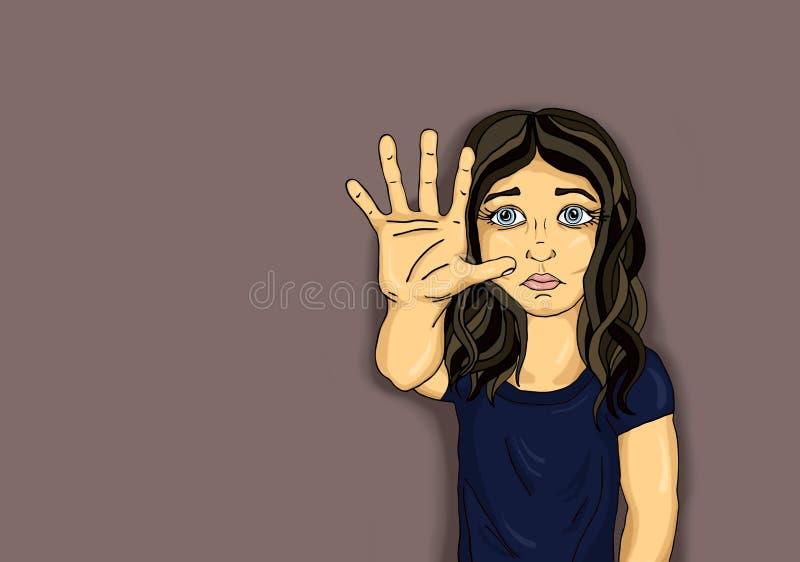 Menina irritada e infeliz que mostra a sinal da mão bastante De encontro à violência ilustração do vetor