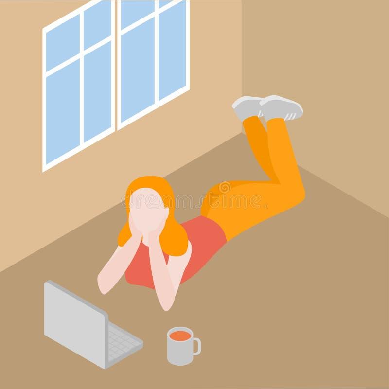 Menina isométrica com portátil, trabalho novo do freelancer em linha Jogo de vídeo do jogo do gamer da mulher interno ilustração do vetor
