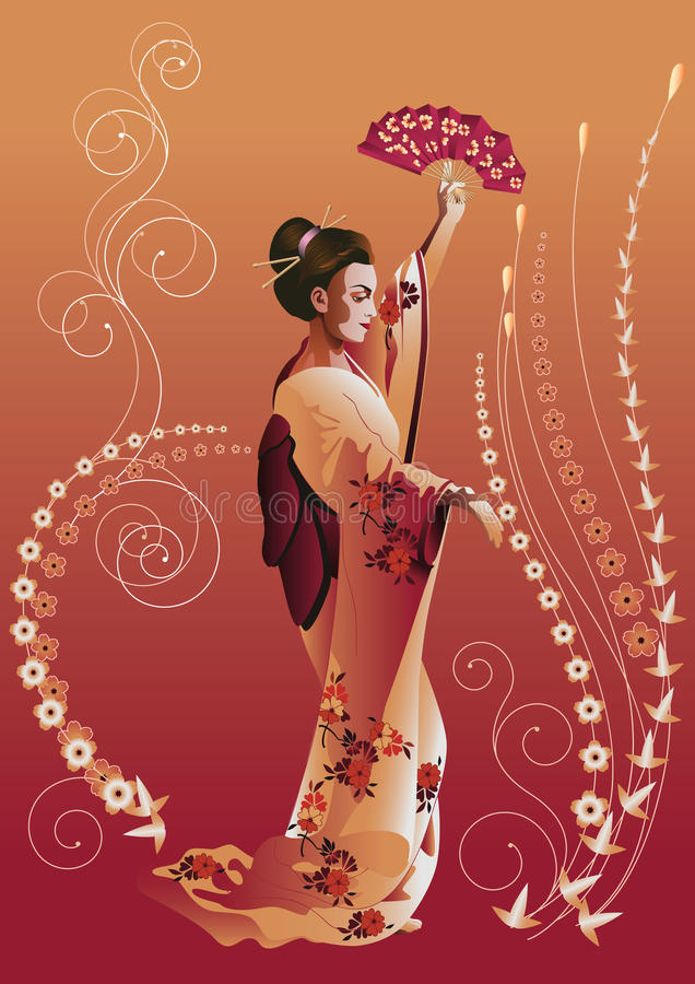 Menina japonesa ilustração do vetor